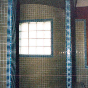 GLAZED PORCELAIN MOSAICS INTERFACED WITH GLASS BLOCK